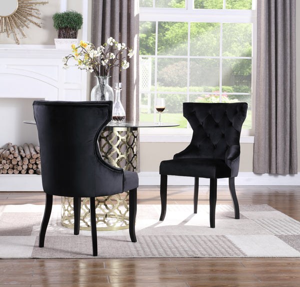 Iconic Home Naomi Jove Maia Pixie Sirius Dining Chair Button Tufted Velvet Upholstered Espresso Wood Legs Black (Set of 2) Main Image