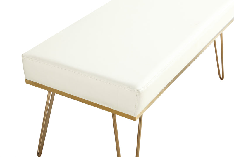 Iconic Home Aldo Bench PU Leather Upholstered Brass Finished Solid Metal Frame Hairpin Legs Cream