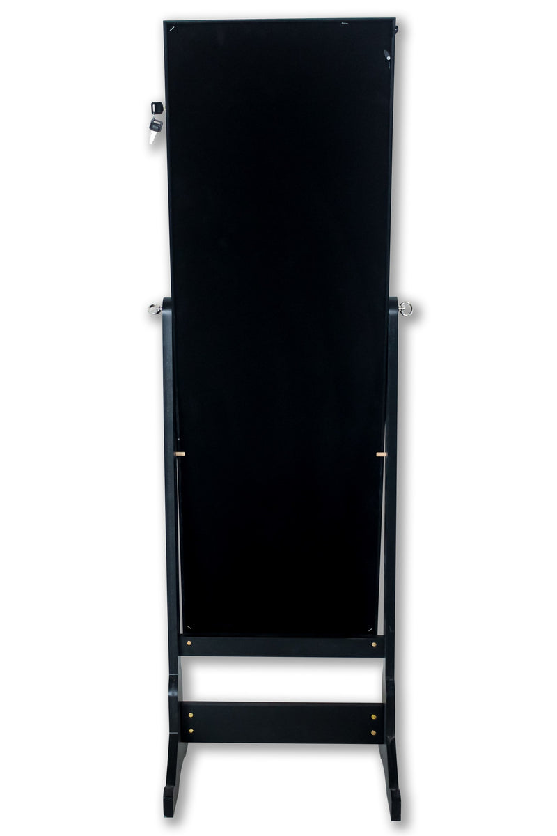 Iconic Home Glitzy Crystal Border Jewelry Storage Armoire Full Length Cheval Mirror Black