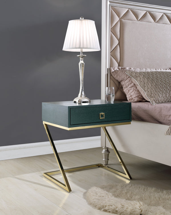 "Iconic Home Cordoba Juan Alonso Francisco Gonzalo Nightstand Side Table Self Closing Drawer Brass Finished Metal ""Z"" Frame Green Main Image"