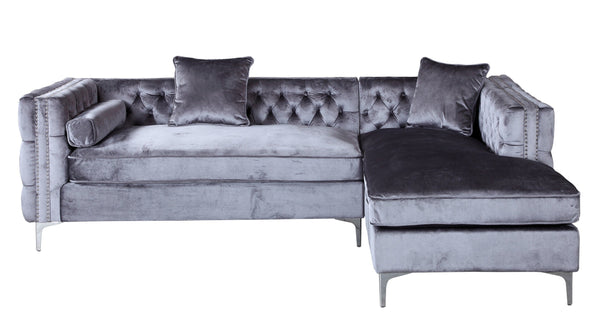 Iconic Home Da Vinci Button Tufted Velvet Right Facing Chaise Sectional Sofa Grey