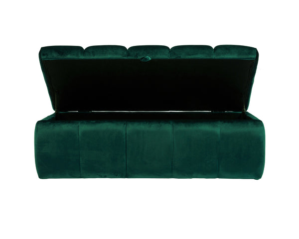 Iconic Home Chagit Storage Ottoman Sleek Tufted Velvet Upholstered Bench Green