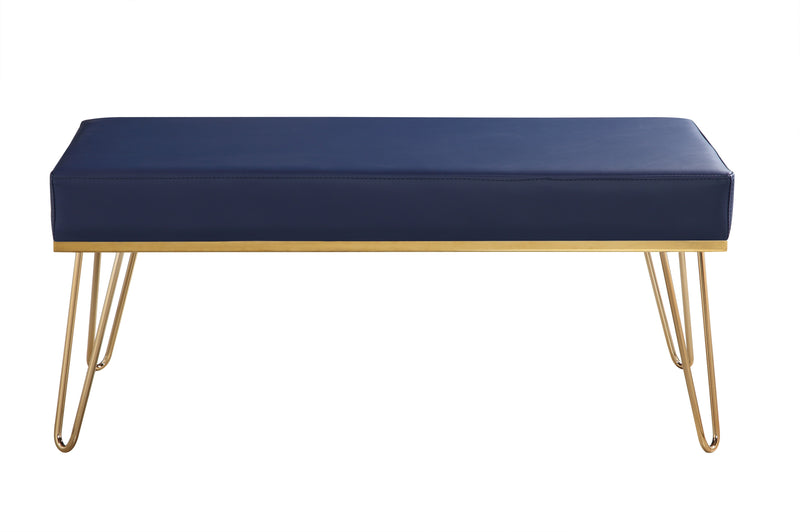 Iconic Home Aldo Bench PU Leather Upholstered Brass Finished Solid Metal Frame Hairpin Legs Navy