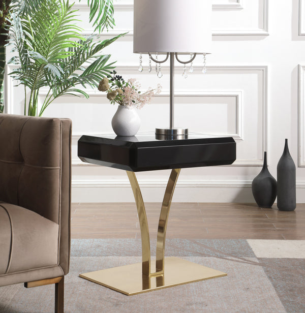 Iconic Home Rochelle Tanisha Jannah Courtney Shenae, Side Table Nightstand Gold Plated Solid Metal Stem Base Self Close Drawer Black Main Image