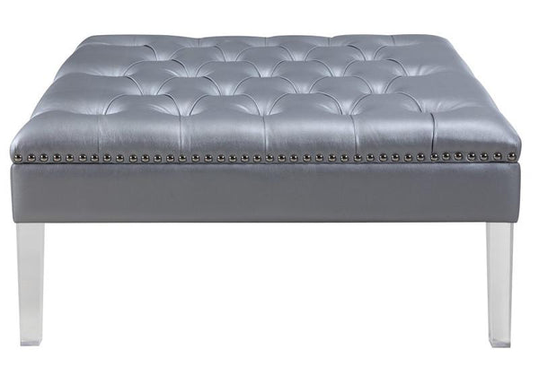 Iconic Home Twain Square Ottoman Button Tufted PU Leather Upholstered Acrylic Legs Bench Silver