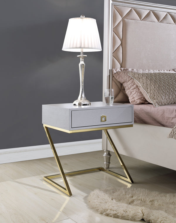"Iconic Home Cordoba Juan Alonso Francisco Gonzalo Nightstand Side Table Self Closing Drawer Brass Finished Metal ""Z"" Frame Grey Main Image"