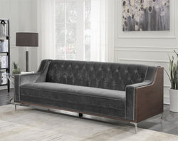Iconic Home Clark Bruce Xavier Parker Natasha Sofa Button Tufted Velvet Walnut Finish Swoop Arm Wood Frame Metal Y Legs Grey Main Image