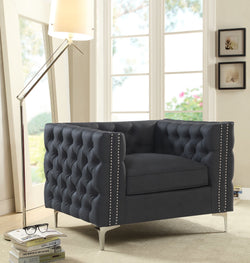 Iconic Home Da Vinci Michelangelo Picasso Monet Bosch Button Tufted PU Leather Upholstered Nail Head Trim Accent Club Chair Black Main Image