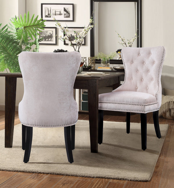 Iconic Home Diana Victoria Charlotte Elizabeth Catherine Dining Chair Button Tufted Velvet Upholstery Espresso Wood Legs Beige (Set of 2) Main Image