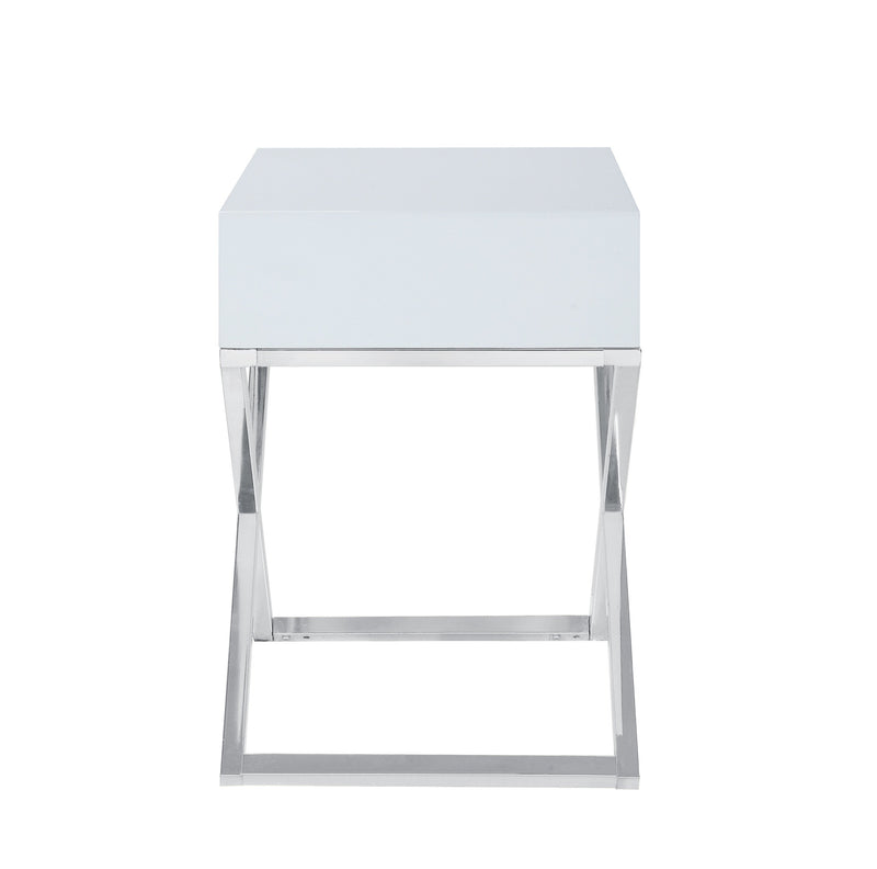 Iconic Home Ithaca Nightstand Side Table Self Closing Drawer Nickel Finished Metal X Frame White