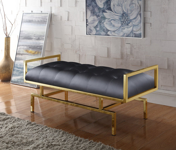 Iconic Home Bruno Bill Melinda Katharine Adele Bench Gold Tone Architectural Frame Tufted PU Leather Upholstered Ottoman Black Main Image