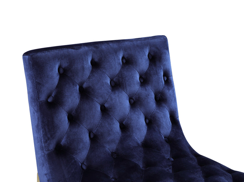 Iconic Home Moriah Accent Chair Button Tufted Velvet Upholstered Brass Finished Metal Frame Navy