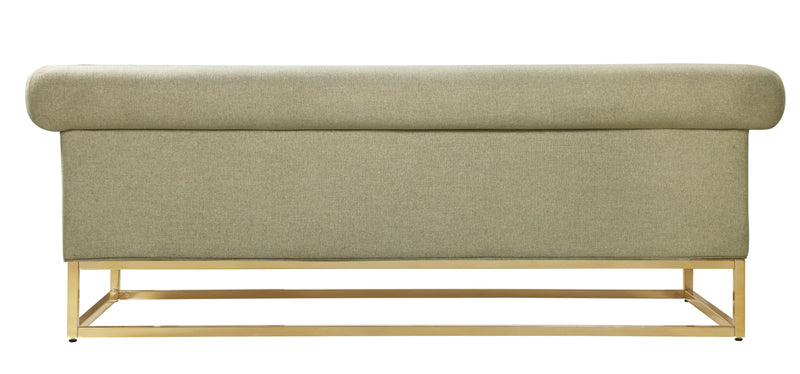 Iconic Home Palmira Button Tufted Rolled Shelter Arm Sofa Beige