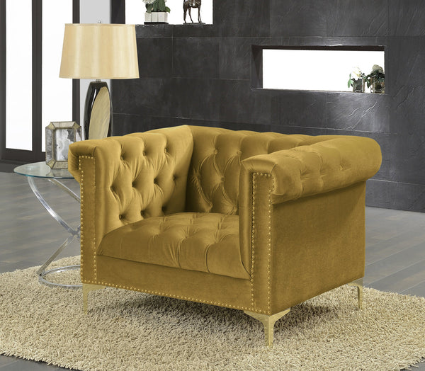 Iconic Home Bea Carlos Soumaya Vanessa Johanna Velvet Button Tufted Accent Club Chair Cognac Main Image