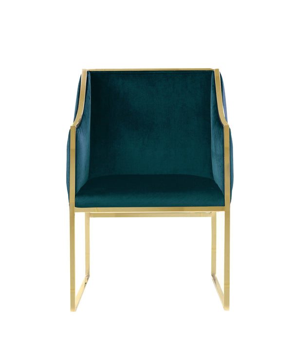 Iconic Home Rowan Accent Club Chair Velvet Upholstered Brass Finished Stainless Steel Frame Green