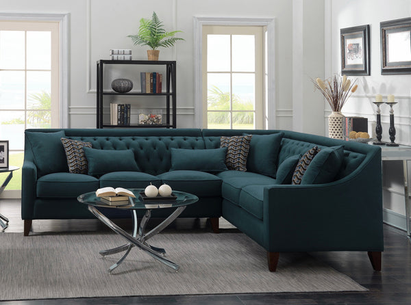 Iconic Home Aberdeen Aurora Vesta Fulla Orion Linen Tufted Right Facing Sectional Sofa Teal Main Image Teal