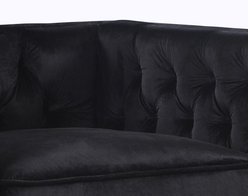 Iconic Home Da Vinci Button Tufted Velvet Upholstered Nail Head Trim Accent Club Chair Black