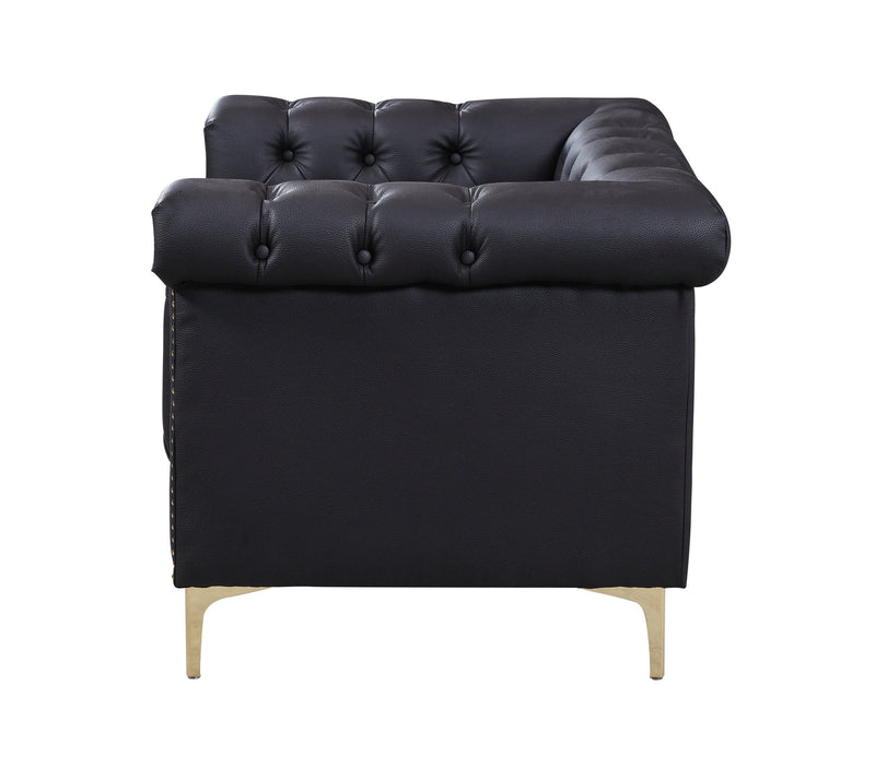 Iconic Home Winston PU Leather Button Tufted Nailhead Trim Metal Legs Accent Club Chair Black