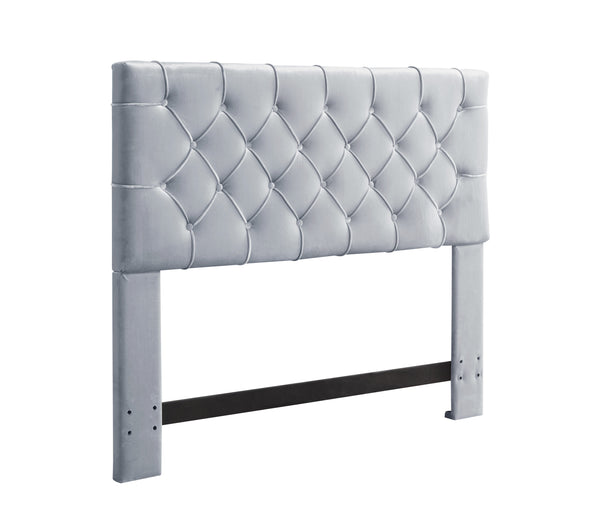 Iconic Home Rivka Headboard Velvet Upholstered Diamond Button Tufted Silver