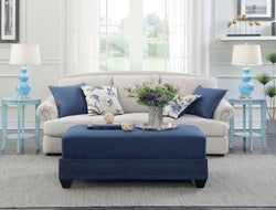 Iconic Home Gianni Bezos Kenzie Prezton Jeffrey Ottoman Linen Upholstered Nailhead Trim Bench Teal Main Image