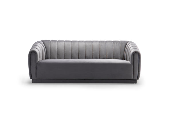 Iconic Home Van Gogh Sofa Velvet Upholstered Vertical Channel-Quilted Shelter Arm Design Grey