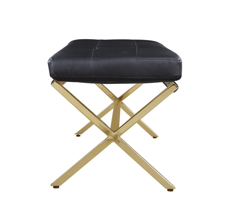 Iconic Home Claudio Bench Gold Tone X Frame PU Leather Upholstered Tufted Ottoman Black