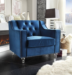 Iconic Home Dylan Presley Stewart Berry Dale Velvet Button Tufted Accent Club Chair Navy Main Image