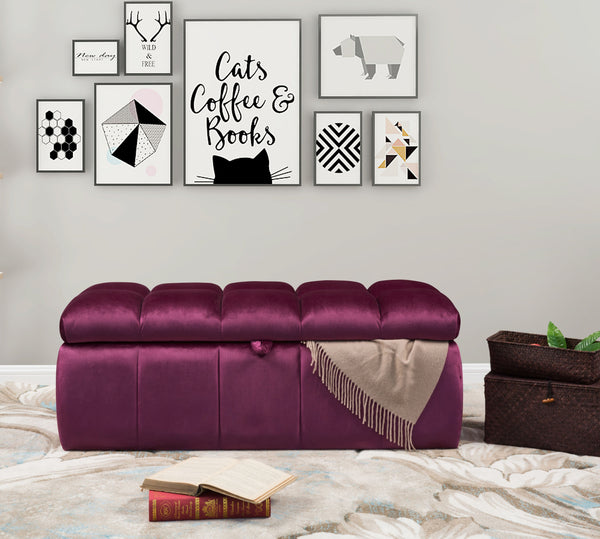 Iconic Home Chagit Felicci Gayle Fiesta Naflah Storage Ottoman Sleek Tufted Velvet Upholstered Bench Purple Main Image