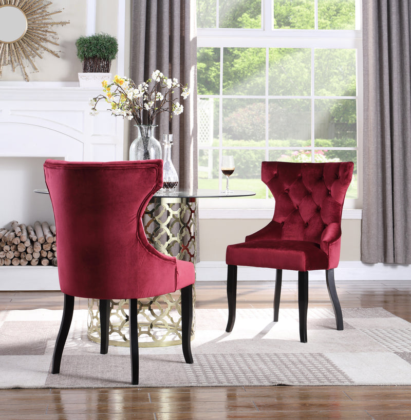 Iconic Home Naomi Jove Maia Pixie Sirius Dining Chair Button Tufted Velvet Upholstered Espresso Wood Legs Red (Set of 2) Main Image