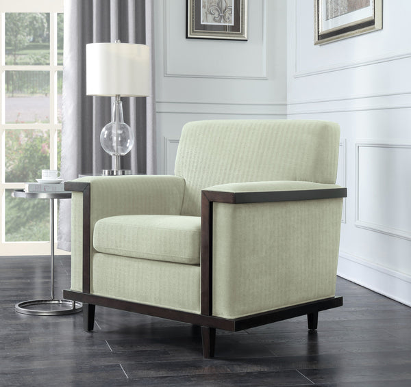 Iconic Home Norwell Barron Adrian Airoe Edmund Accent Club Chair Retro Modern Wood Trim Herringbone Chenille Wood Legs Beige Main Image