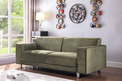Iconic Home Amarillo Larry Adda Nancy Barbara Sleek Velvet Plush Sofa Taupe Main Image