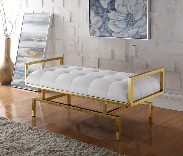 Iconic Home Bruno Bill Melinda Katharine Adele Bench Gold Tone Architectural Frame Tufted PU Leather Upholstered Ottoman White Main Image