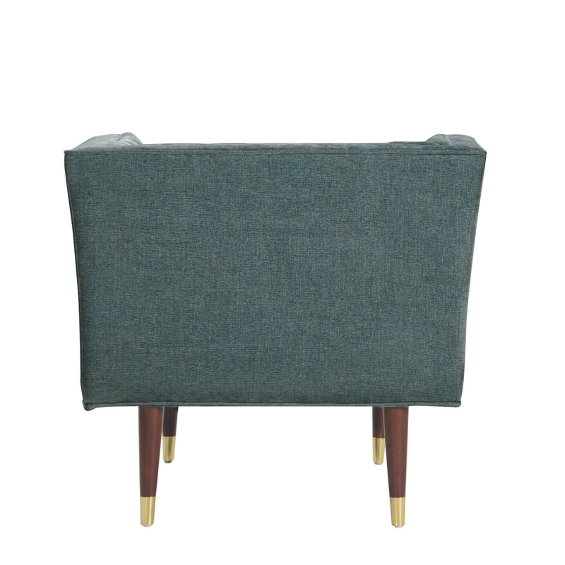 Iconic Home Agatha Clam Shell Linen Textured Accent Club Chair Teal