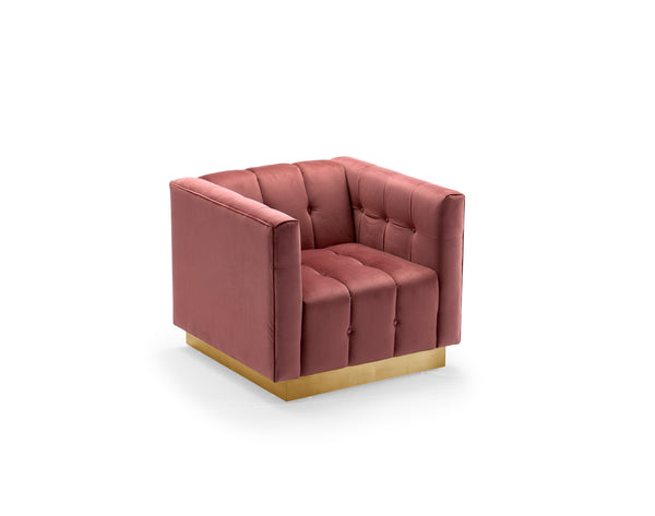 Iconic Home Primavera Club Chair Button Tufted Velvet Upholstered Gold Tone Metal Base Rose