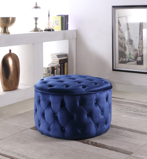 Iconic Home Batya Emma Shiloh Adna Mahlah Ottoman Button Tufted Velvet Upholstered Round Pouf Navy Main Image