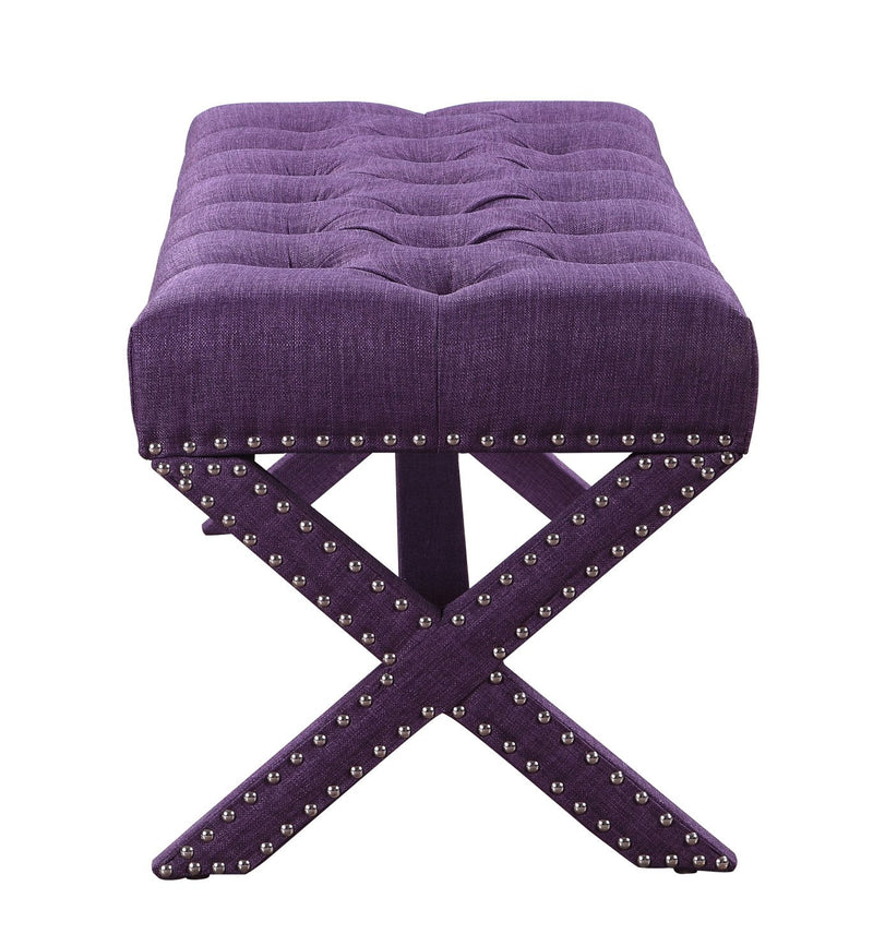 Iconic Home Dalit X Frame Nailhead Trim Linen Tufted Ottoman Bench Plum