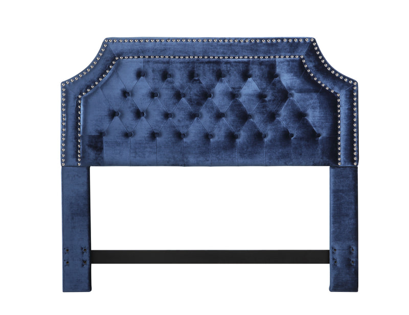 Iconic Home Chava Headboard Button Tufted Velvet Upholstered Double Row Nailhead Trim Navy
