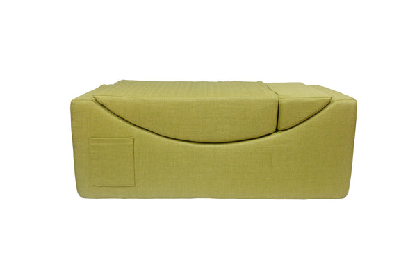 Iconic Home Enzyme Faux Linen Recliner Accent Chair Ottoman Bench Green
