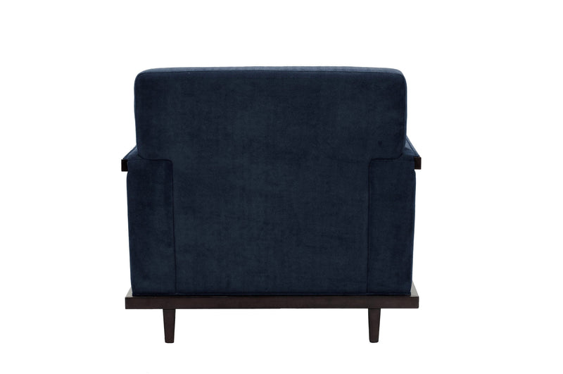 Iconic Home Norwell Accent Club Chair Retro Modern Wood Trim Detailed Herringbone Chenille Navy