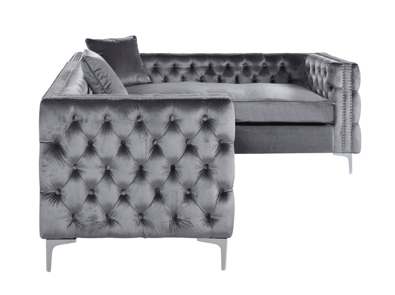 Iconic Home Mozart Right Facing Sectional Sofa Velvet Button Tufted Nailhead Trim Metal Y-Leg Grey