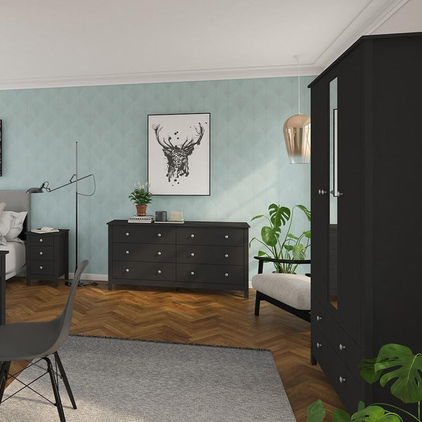 Wardrobe With Mirror In Black - Home Affections