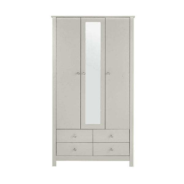 Wardrobe With Mirror In Soft Grey - Home Affections