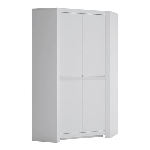 Corner Wardrobe in Alpine White - Home Affections