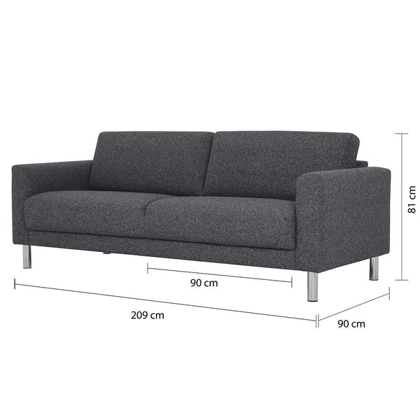 Three Seater Sofa Antracit - Home Affections