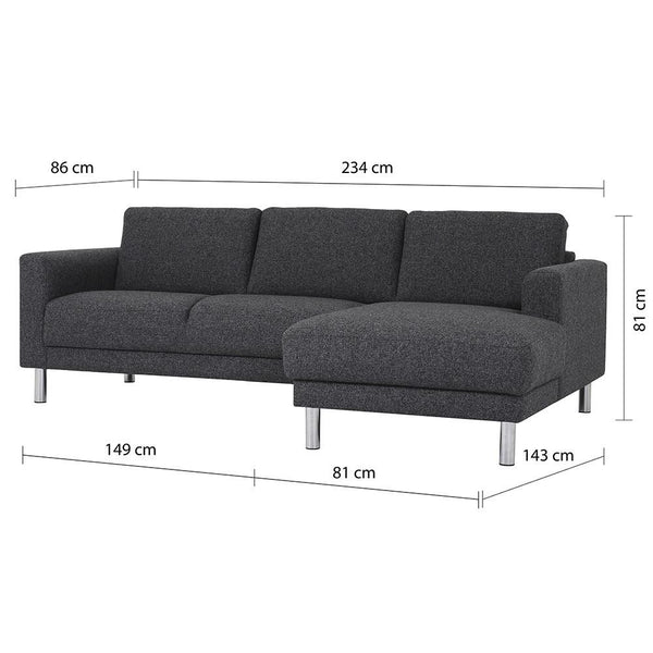 Chaiselongue Sofa Antracit (RH) - Home Affections