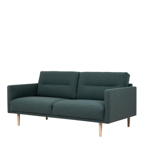 Two Seater Sofa In Dark Green With Oak Legs - Home Affections