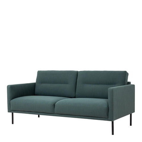 Two Seater Sofa In Dark Green With Black Legs - Home Affections