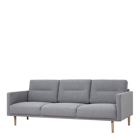 Three Seater Sofa In Grey With Oak Legs - Home Affections