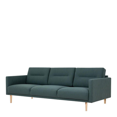 Three Seater Sofa In Dark Green With Oak Legs - Home Affections