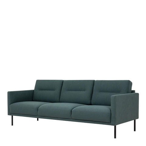 Three Seater Sofa In Dark Green With Black Legs - Home Affections